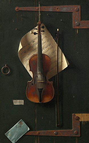 An old violin hanging from an old wooden door with large metal hinges. A sheet of music is hanging behind the violin and in the bottom left corner is an envelope.