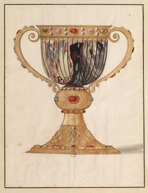 Image: Watercolor illustration of Suger's chalice
