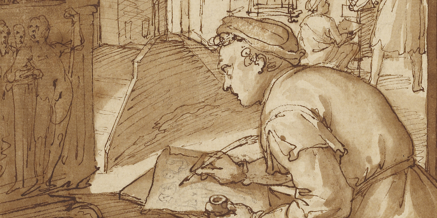 Ink drawing of a young man making a pen drawing of an antique sculpture with other artists in the background