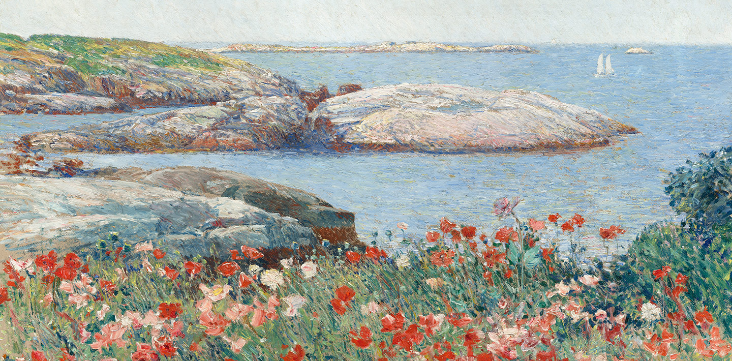 Childe Hassam (painter), Poppies, Isles of Shoals 1891 oil on canvas overall: 50.2 x 61 cm (19 3/4 x 24 in.) framed: 73.5 x 83.8 x 6.7 cm (28 15/16 x 33 x 2 5/8 in.)