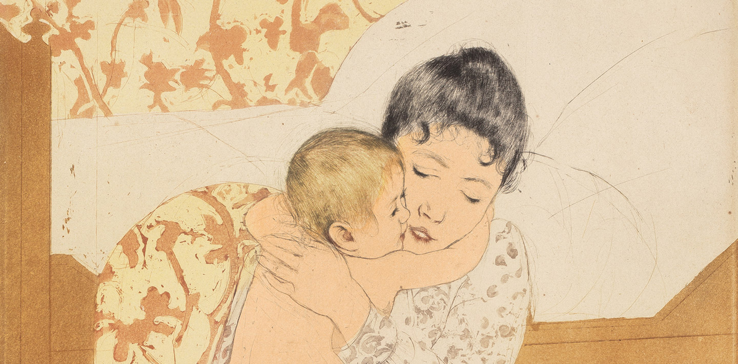 Mary Cassatt (artist), Maternal Caress, color drypoint and aquatint on laid paper plate: 36.8 x 26.8 cm (14 1/2 x 10 9/16 in.) sheet: 43.5 x 30.3 cm (17 1/8 x 11 15/16 in.)