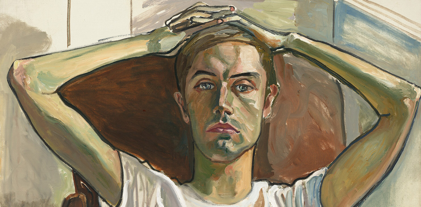A painting of a man in a white t-shirt sitting in a chair with fingers interlocked on top of/slightly behind his head, staring straight-forward with a blank expression on his face.