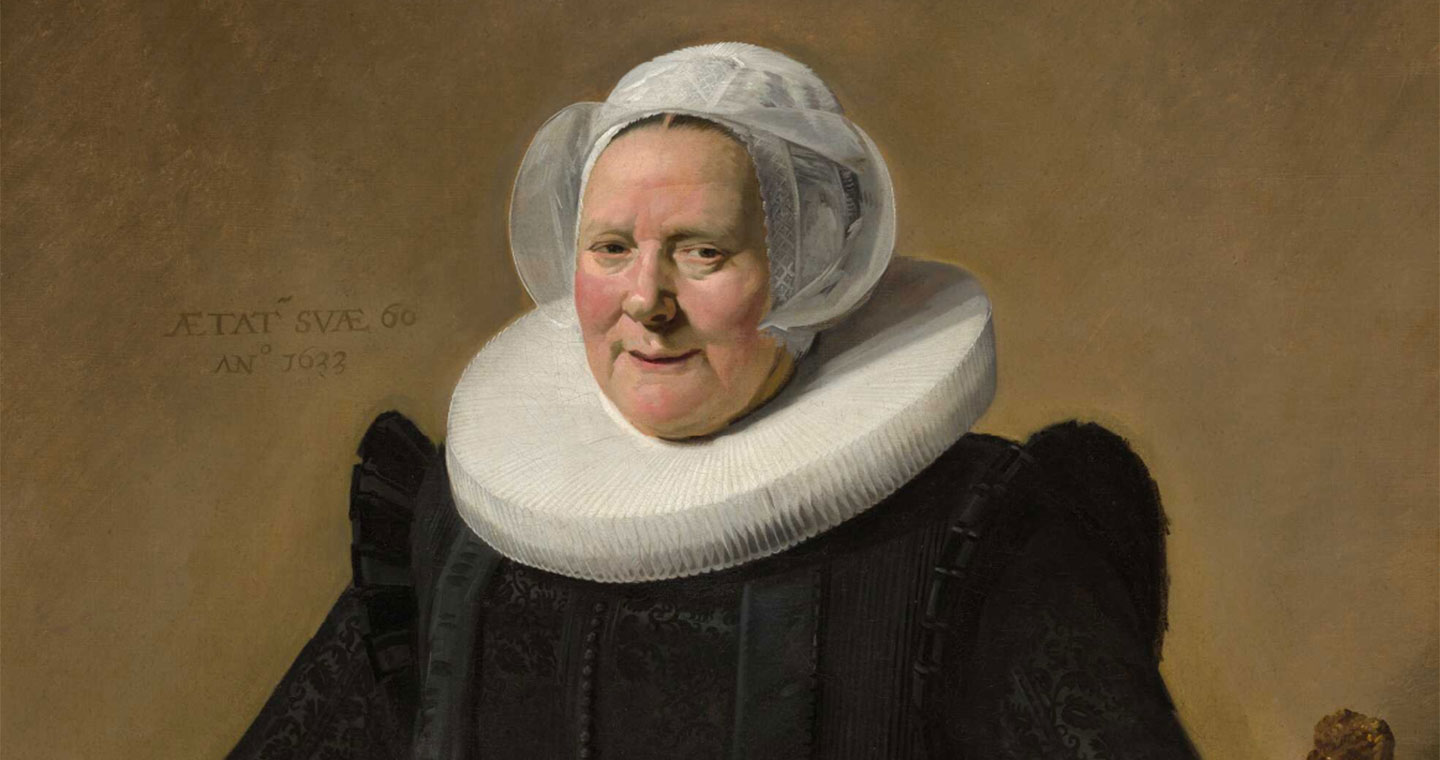 A painting showing an older woman wearing a white headdress and a black dress.