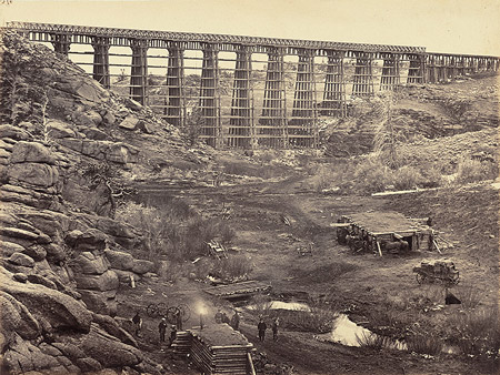 Image: Dale Creek Bridge, from above, albumen print