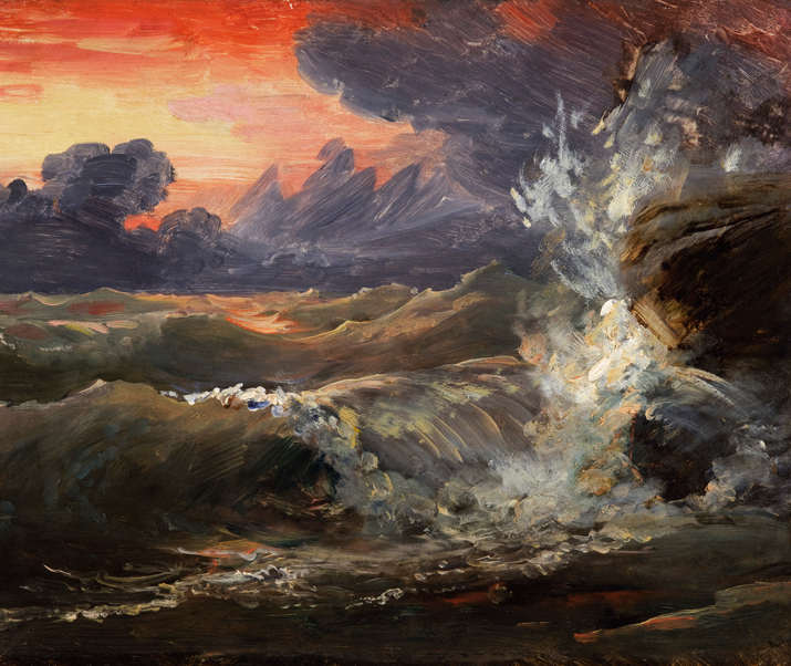 Image of the painting A Study of Waves Breaking against Rocks at Sunset