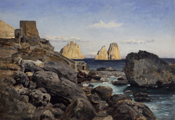 Image of the painting View of Faraglioni near Capri, oil on wood panel