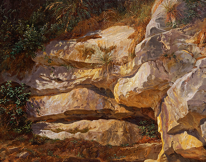 Image of the painting Limestone Rocks, Sorrento, 1858, oil on paper