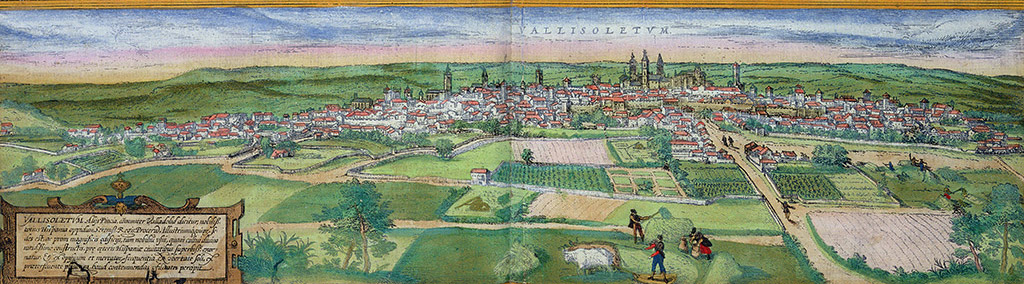 Fig. 2: View of Valladolid from Civitates orbis terrarum, by Georg Braun and Franz Hogenberg, with plates by Joris Hoefnagel, 1582, hand-colored engraving, private collection. Photo: The Stapleton Collection/Bridgeman Images