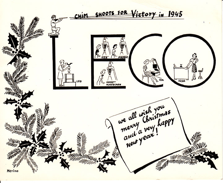 A wartime holiday card from the photo-finishing firm Leco depicts Chim as a soldier, December 1944, © Chim Archive