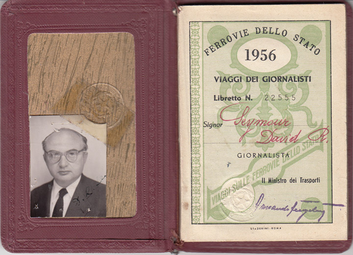 Chim's 1956 journalist pass from Italy's State Railways, © Chim Archive