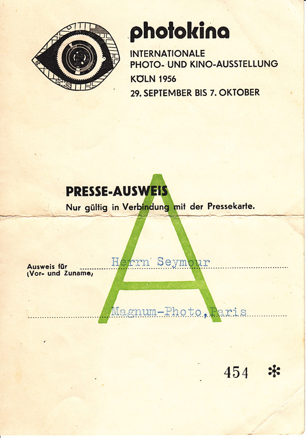 Chim's press pass for the 1956 photokina fair in Cologne, where Magnum mounted its first major group exhibition, © Chim Archive