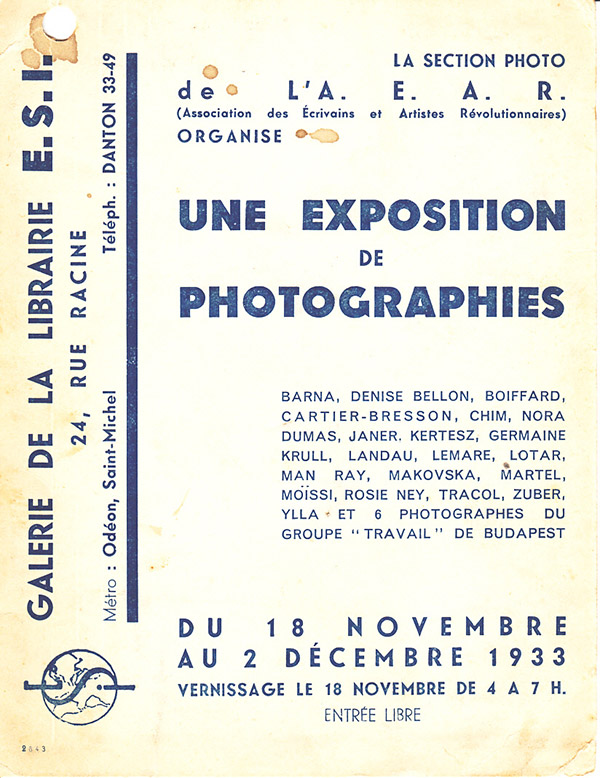 A flyer for a 1933 Paris photo exhibition  includes Chim, only a year into his career, among an impressive roster of photographers, © Chim Archive