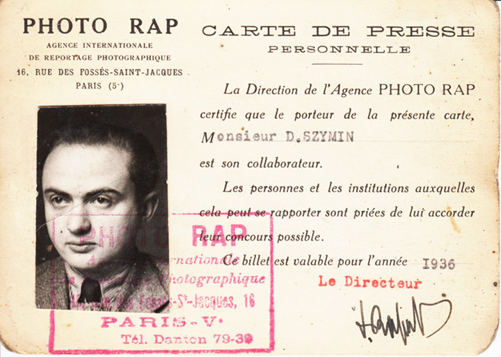 Chim's 1936 press card from the French photo agency RAP, which was owned by a family friend, © Chim Archive