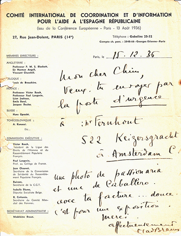 Letter from the Paris office of the International Committee of Coordination and Information for Assistance to Republican Spain asking Chim quickly to send two of his photos of Republican leaders to Amsterdam for an exhibition, © Chim Archive