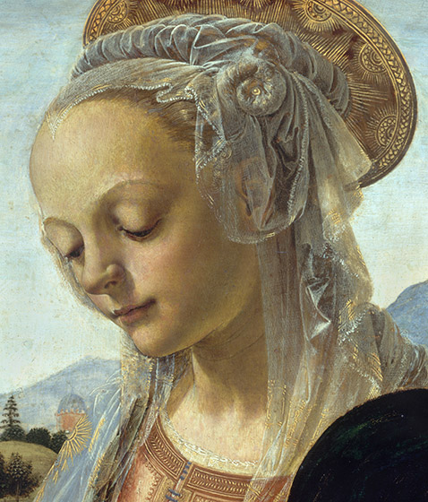 Detail of the head of Mary from Andrea del Verrocchio, Madonna and Child