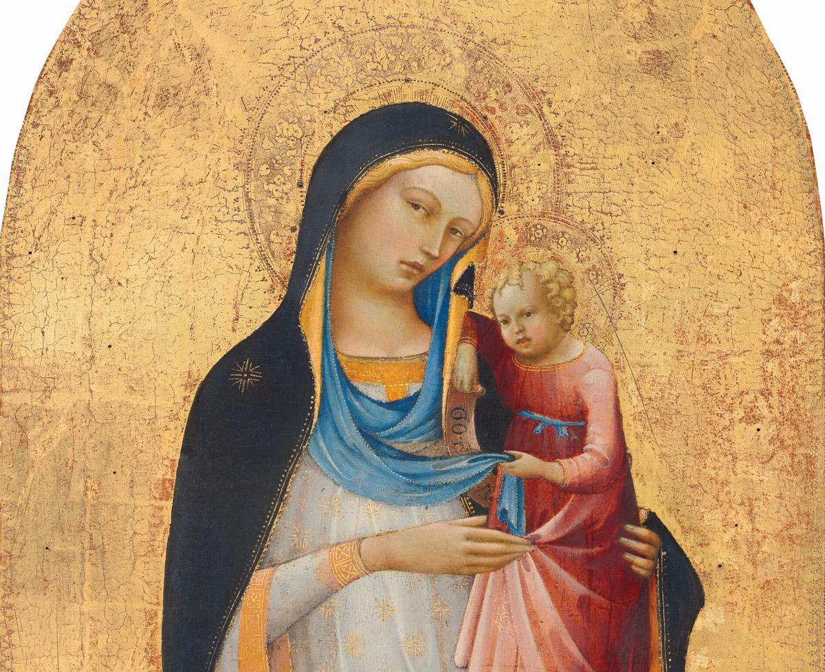 Painting of the Madonna and Child with a golden background around the figures