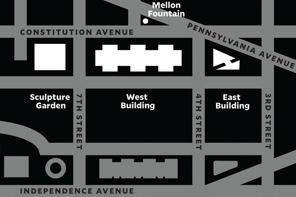 map of Gallery's campus between 3rd Street and 9th Street on Constitution Ave, NW