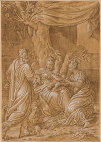 Antonio Campi, The Holy Family with Mary Magdalene and a Male Saint, c. 1547, pen and brown ink with brown wash, heightened with white gouache, over traces of black chalk, squared in black chalk, on laid paper, sheet: 37.1 x 26.2 cm (14 5/8 x 10 5/16 in.). National Gallery of Art, Washington, Ruth and Jacob Kainen Memorial Acquisition Fund 2019.141.1