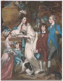 Daniel Gardner, The Yorke Family, c. 1775, gouache, pastel paste, and pastel with graphite and possibly black chalk on prepared paper mounted to canvas (on a wooden stretcher), sheet: 92 x 70.4 cm (36 1/4 x 27 11/16 in.). National Gallery of Art, Washington, Patrons' Permanent Fund 2019.142.1