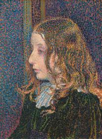 Théo van Rysselberghe, Denise Maréchal, c. 1894, oil on wood, overall: 36.2 x 26.7 cm (14 1/4 x 10 1/2 in.), framed: 52.86 x 43.82 x 2.54 cm (20 13/16 x 17 1/4 x 1 in.). National Gallery of Art, Washington, Chester Dale Fund 2019.118.1