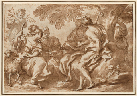 Domenico Piola, 'The Meeting of Jacob and Rachel', 1670s, brush with brown wash over black chalk, sheet: 29.5 x 43.1 cm (11 5/8 x 16 15/16 in.), National Gallery of Art, Washington, New Century Fund
