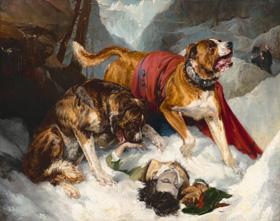Sir Edwin Landseer, Alpine Mastiffs Reanimating a Distressed Traveler, 1820, oil on canvas