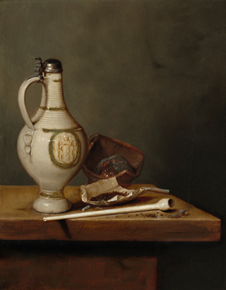 Jan Jansz van de Velde III, Still Life with Stoneware Jug and Pipe, 1650, oil on panel, 35.9 x 27.9 cm (14 1/8 x 11 in.). National Gallery of Art, Washington. The Lee and Juliet Folger Fund