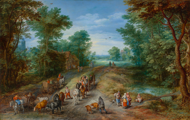 image of the painting, Wooded Landscape with Travelers, by Jan Brueghel the Elder