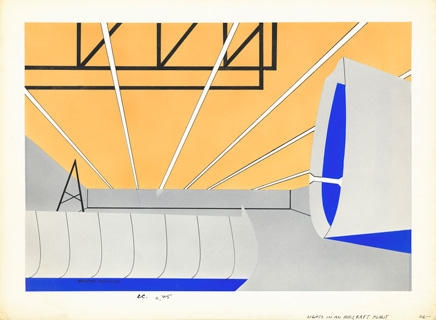 Ralston Crawford, Lights in an Aircraft Plant, c. 1945, gouache, Promised Gift of Linda Lichtenberg Kaplan