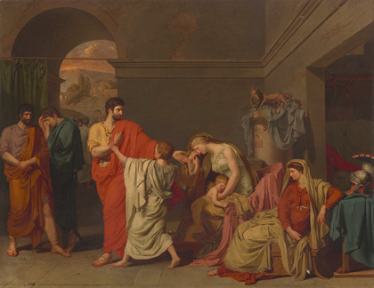 Anne-Louis Girodet de Roussy-Trioson, Coriolanus Taking Leave of His Family, 1786, oil on canvas. National Gallery of Art, Washington