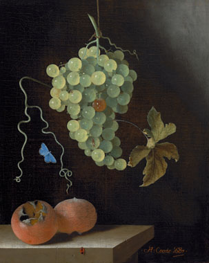 Adriaen Coorte, Still Life with a Hanging Bunch of Grapes, Two Medlars and a Common Blue Butterfly, 1687