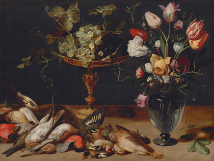 Frans Snyders, Still Life with Flowers, Grapes, and Small Game Birds, c. 1615, oil on panel, National Gallery of Art, Washington, Gift of Mr. and Mrs. John E. Pflieger
