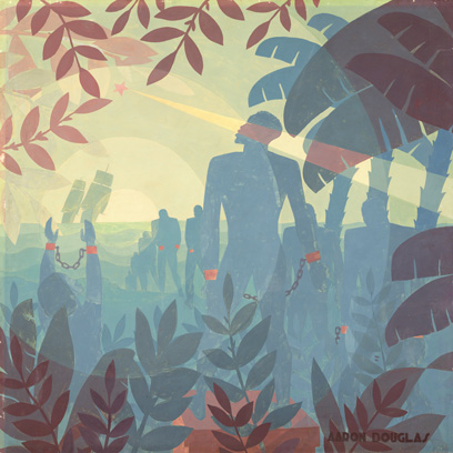 Aaron Douglas, 'Into Bondage', 1936, oil on canvas, National Gallery of Art, Washington, Corcoran Collection (Museum Purchase and partial gift from Thurlow Evans Tibbs, Jr., The Evans-Tibbs Collection)