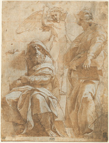 Raphael, The Prophets Hosea and Jonah, c. 1510, pen and brown ink with brown wash over charcoal and blind stylus, heightened with white gouache and squared for transfer with blind stylus and red chalk, on laid paper, overall: 26.2 x 20 cm (10 5/16 x 7 7/8 in.). National Gallery of Art, Washington, The Armand Hammer Collection
