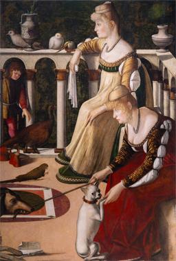 Vittore Carpaccio, Two Women on a Balcony, c. 1492/1494, oil on panel, Musei Civici Veneziani, Museo Correr, Venice