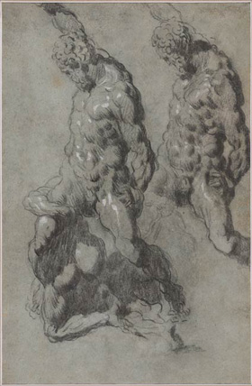 Tintoretto? and Workshop, Study of Michelangelo's Samson and the Philistines (recto and verso), c. 1560–1570, charcoal and black chalk with white opaque watercolor on blue paper overall: 44.3 x 28.5 cm (17 7/16 x 11 1/4 in.) framed: 73 x 56.5 x 5.4 cm (28 3/4 x 22 1/4 x 2 1/8 in.). The Morgan Library & Museum, New York. Thaw Collection