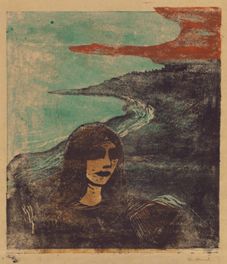 Edvard Munch, Woman's Head Against the Shore (Girl's Head Against the Shore), 1989, color woodcut, Epstein Family Collection