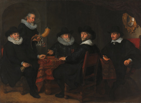 Caption: Govaert Flinck, The Governors of the Kloveniersdoelen, 1642, oil on canvas, Rijksmuseum, Amsterdam, on loan from the City of Amsterdam