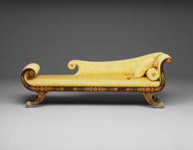 Caption: John and/or Hugh Finlay, Grecian couch, 1810-1840, walnut, cherry; white pine, poplar, cherry, National Gallery of Art, Washington, Promised Gift of George M. and Linda H. Kaufman