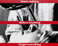 Caption: Barbara Kruger, Untitled (Know nothing, Believe anything, Forget everything), 1987/2014, screenprint on vinyl, National Gallery of Art, Washington Gift of the Collectors Committee, Sharon and John D. Rockefeller IV, Howard and Roberta Ahmanson, Denise and Andrew Saul, Lenore S. and Bernard A. Greenberg Fund, Agnes Gund, and Michelle Smith