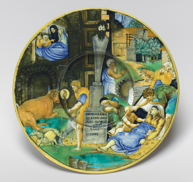 Unknown artist, Plate with the Plague of Phrygia (after Raphael), c. 1535/1540, tin-glazed earthenware (maiolica), National Gallery of Art, Washington, Corcoran Collection (William A. Clark Collection)