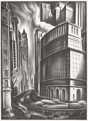 Howard Cook, 'Looking up Broadway', 1937, lithograph, National Gallery of Art, Washington, Reba and Dave Williams Collection, Gift of Reba and Dave Williams