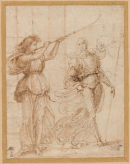 Fra Bartolommeo, 'One Angel Blowing a Trumpet, and Another Holding a Standard', c. 1500, pen and brown ink, squared in red chalk for transfer on laid paper, National Gallery of Art, Washington, Woodner Collection, Gift of Andrea Woodner
