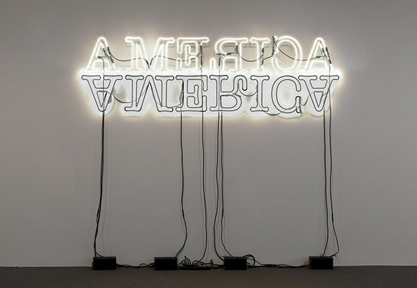A florescent light in the shape of the word America with a mirror image below it also in florescent light