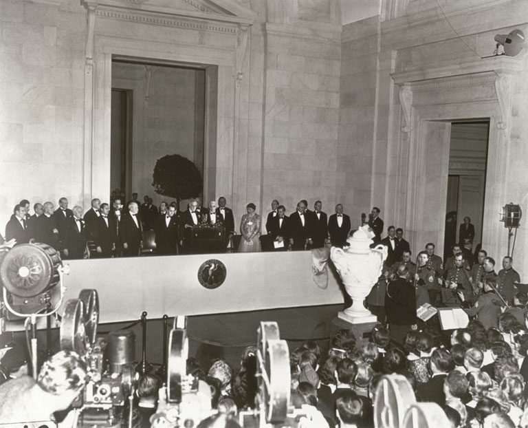 President Franklin D. Roosevelt speaking at the dedication of the National Gallery of Art, March 17, 1941. National Gallery of Art, Gallery Archives.
