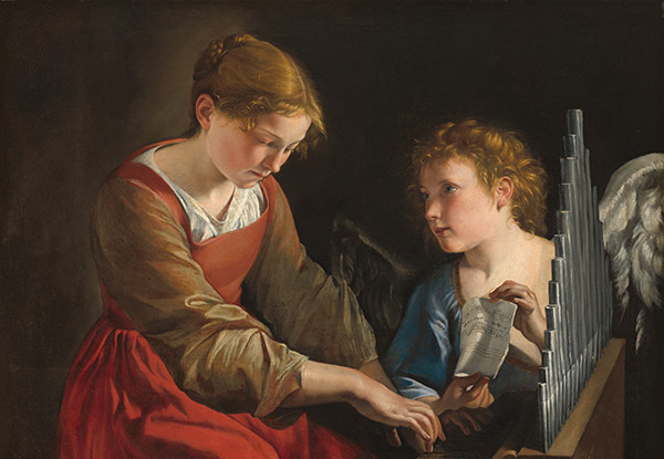 Image of a woman playing an instrument with an angel looking on.
