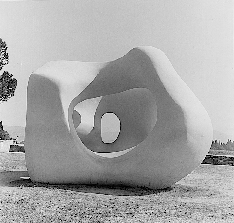 "Black-and-white photograph of a Henry Moore sculpture, ""Large Two Forms,"" in the Forte di Belvedere, Florence"