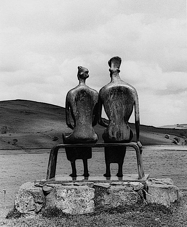 "Black-and-white photograph of a Henry Moore sculpture, ""King and Queen,"" in the Glenkiln Sculpture Park, Scotland"