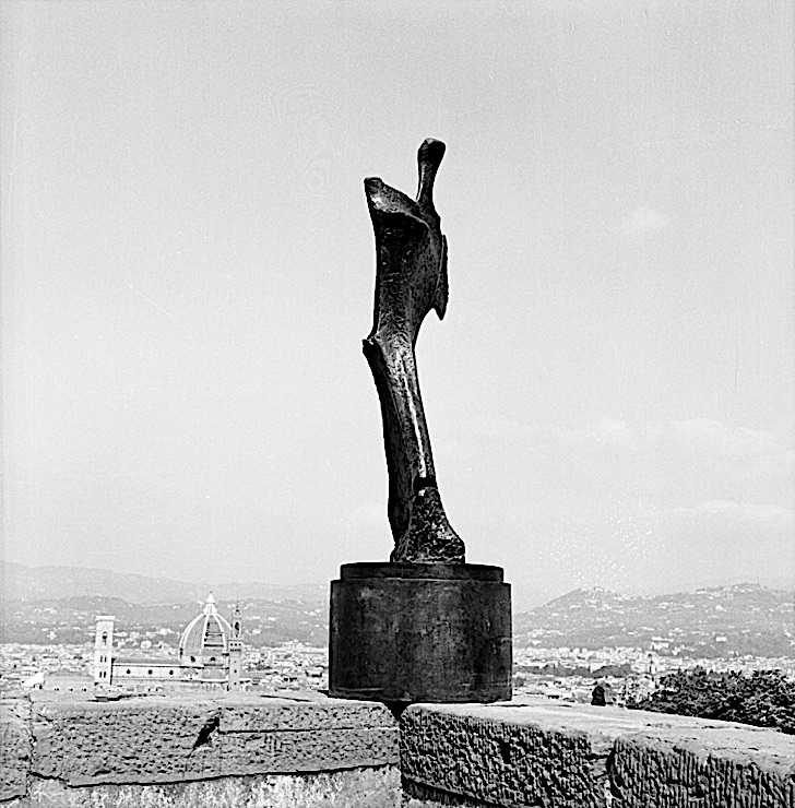 "Black-and-white photograph of a Henry Moore working model for ""Standing Figure: Knife Edge"" in the Forte di Belvedere, Florence"
