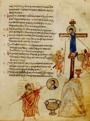 Iconoclasts whitewashing an image of Christ, Khludoff Psalter, 9th century, Moscow, Historical Museum